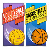 Basketball and volleyball banners  on Stock Photo