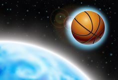 Basketball wallpaper. Powerful illustration of floating basket-ball in space Stock Photos