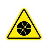 Basketball Warning sign yellow. game Hazard attention symbol. Da Royalty Free Stock Photos