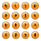 Basketball website icons. Orange basketball website icons vector Stock Images