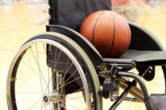 Basketball on a wheelchair basketball game Stock Images
