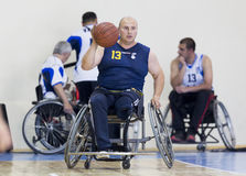 Basketball in wheelchairs for physically disabled players Stock Photography