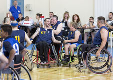 Basketball in wheelchairs for physically disabled players Royalty Free Stock Photography