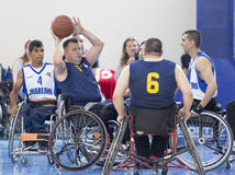 Basketball in wheelchairs for physically disabled players Stock Image