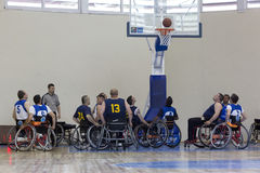 Basketball in wheelchairs for physically disabled players Royalty Free Stock Photos