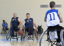 Basketball in wheelchairs for physically disabled players. Sofia, Bulgaria - May 16, 2015: Physically disabled people are playing basketball in the Sofia's Cup Royalty Free Stock Image