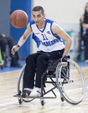 Basketball in wheelchairs for physically disabled players. Sofia, Bulgaria - May 16, 2015: Physically disabled people are playing basketball in the Sofia's Cup Royalty Free Stock Images