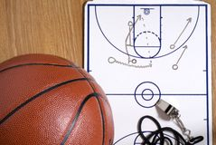 Basketball, Whistle Clipboard Alley-oop Play Stock Photo
