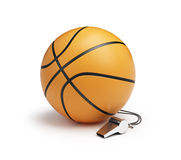 Basketball whistle judge. On a white background Stock Image