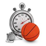 Basketball whistle and stopwatch. Basketball, referee whistle and stopwatch on a white background. 3d rendering Royalty Free Stock Images