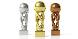 Basketball golden, silver and bronze trophies isolated on white background. 3d illustration. Basketball winners. Basketball golden, silver and bronze trophies Royalty Free Stock Photo