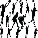 Basketball woman player silhouette. Basketball woman player vector silhouette royalty free illustration