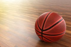 Basketball on wood floor. A photo of Basketball on wood floor, 3D rendering with blender freeware Royalty Free Stock Photos