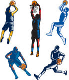Basketball Woodcut Collection Stock Photos