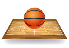 Basketball on a wooden court. Royalty Free Stock Photo