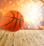 Basketball. Wooden floor and abstract background Stock Photos