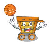 With basketball wooden trolley character cartoon. Vector illustration vector illustration
