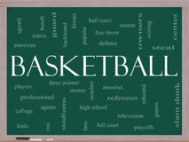 Basketball Word Cloud Concept on a Blackboard Stock Photos