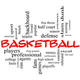 Basketball Word Cloud Concept in red caps Royalty Free Stock Image
