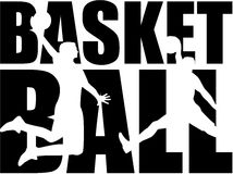 Basketball word with silhouettes. Player Royalty Free Stock Image