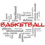 Basketball-Wort-Wolken-Konzept in den roten Kappen Lizenzfreies Stockbild