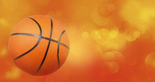 Basketball on abstract background. Basketball and yellow orange circles abstract background Stock Photography