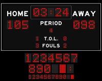 Basketballanzeigetafel mit rotem Quadrat führte auf schwarzem Hintergrund Stockfotos