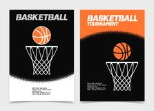 Basketballbroschüre oder Netzfahnendesign mit Ball- und Bandikone Stockfotografie