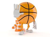 Basketballcharakter mit Verkehrskegel Stockfotografie