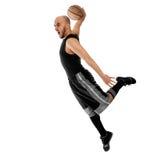 Basketballer在白色背景做灌篮 免版税库存照片
