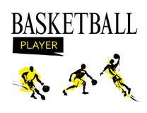 传染媒介手拉的basketballer剪影集合 免版税库存照片