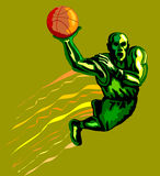 Basketballer dunking green Royalty Free Stock Image