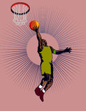Basketballer laying up hoop. Illustration on a basketballer laying up the hoop Stock Images