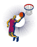 Basketballer layup hoop left. Illustration on a basketballer laying up the ball to the hoop Royalty Free Stock Photos
