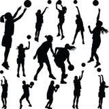 Basketballfrauen-Spielerschattenbild Stockbild