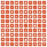 100 Basketballikonen stellten Schmutz orange ein Lizenzfreies Stockbild