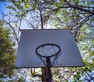 Basketballkorb im Freien mit hinteren Bäumen stockbilder