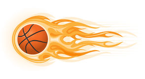 Basketballkugel in der Flamme Stockfotografie