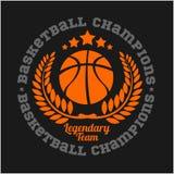 Basketballmeisterschaftslogosatz und -Gestaltungselemente Stockfotos