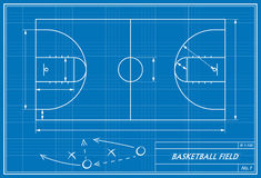 Basketballplatz auf Plan Stockfoto