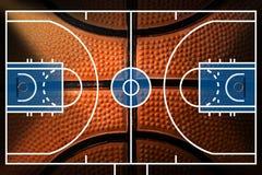 Basketballplatz mit Detail des Basketballs Lizenzfreies Stockbild