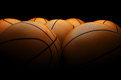 Basketballs black background Stock Photo