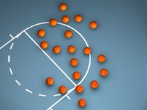 Basketballs drawing a Dollar symbol. Some basketballs drawing a Dollar symbol on a blue floor royalty free illustration