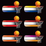 Basketballs and hoope on specialized banners. Multicolored specialized banners with basketballs and hoops Royalty Free Stock Photos