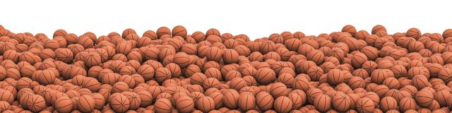 Basketballs pile panorama. 3D illustration of panoramic view of hundreds of basketballs Royalty Free Stock Photos