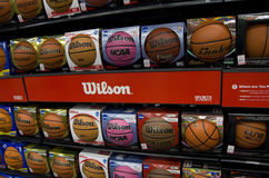 Basketballs on store shelves Stock Images