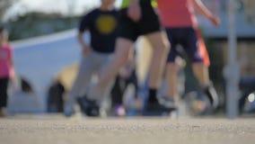 Basketballspiel auf der Straße - slowmo 180 fps stock video footage