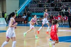 Basketballspiel Russland Spanien Stockbild