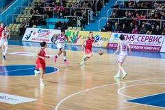 Basketballspiel Russland Spanien. Stockfotografie