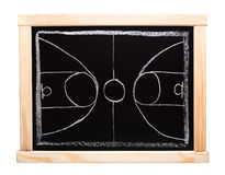 Basketballstrategieplanung auf Tafel Stockbilder